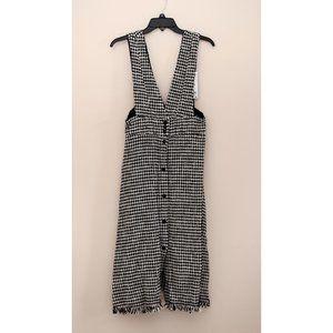 Zara black&white tweed pinafore overall dress